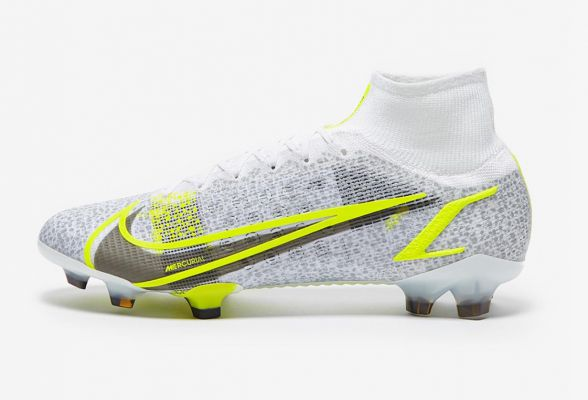 New Nike Mercurial Superfly VIII Elite FG White/Black Meatallic/Silver Volt
